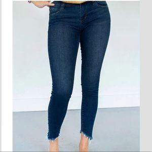 Articles of Society Ankle Skinny Jeans Fringe Hem